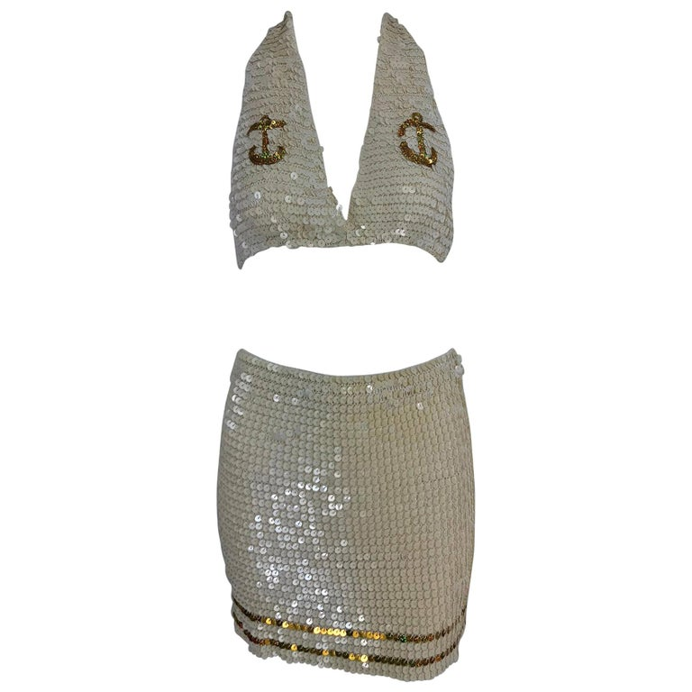 Martha cruise wear cream sequin bra and skirt, 1980s For Sale