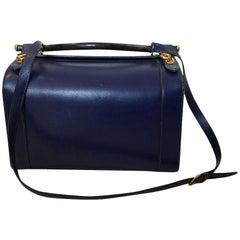 c.1960s Hermes Rare Blue Calf Box Leather Train or Vanity Case Bag