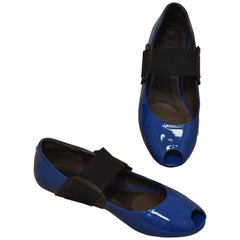 Marni Blue Patent Leather Peep Toe Flats 39