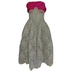 Hattie Carnegie Custom cream guipure lace pink silk strapless dress, 1950s