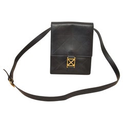 1970s Paloma Picasso Copyrighted Design Black Leather Cross Body