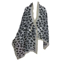 Giorgio Armani large sheer cream and woven black silk leopard spot shawl