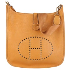 Hermes Vintage Tan Leather Evelyne Shoulder Bag