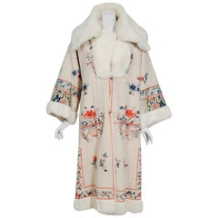 1920's Reversible Chinese Embroidered Ivory Silk Crepe Rabbit Fur Couture Coat