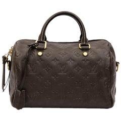 LOUIS VUITTON Speedy 25 Bag in Dark Brown Embossed Empreinte Leather