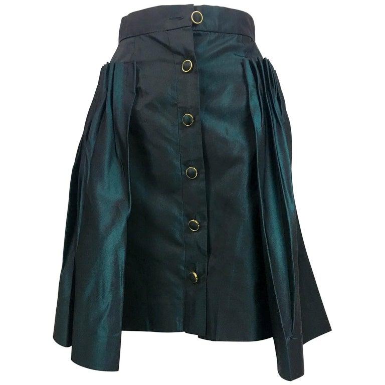 Chanel Iridescent Green Silk Skirt, 1990s
