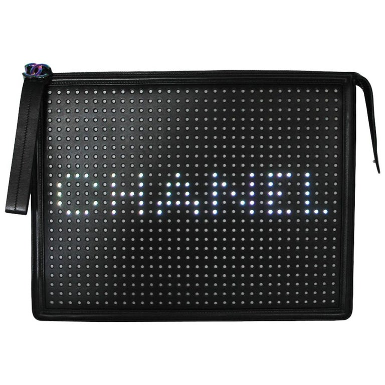 Chanel LED Boy Black Clutch No. 24 For Sale