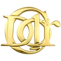 1990's Christian Dior Stylised Gilt Logo Brooch