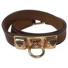 HERMES 'Rivale Double Tour' Bracelet in Brown Swift Leather and Gold Plate Studs