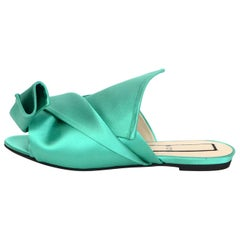 No 21 Green Satin Knotted Open-Toe Mules