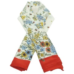 Brooks Brothers Floral w/ Red Boarder Silk Scarf