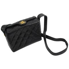 Chanel Semi Rigid Black Quilted Lambskin Leather  Crossbody Bag