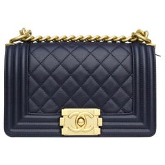 Chanel Boy Navy Blue Calfskin Shoulder / Crossbody Bag