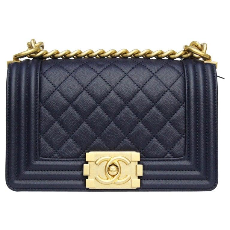 Chanel Boy Navy Blue Calfskin Shoulder   Crossbody Bag at 1stdibs c399d4b1a78b