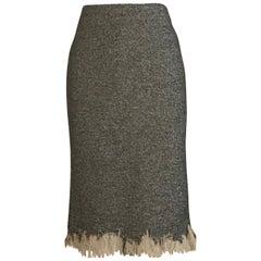 Alexander McQueen 2010 Herringbone Tweed Distressed Ruffle Pencil Skirt