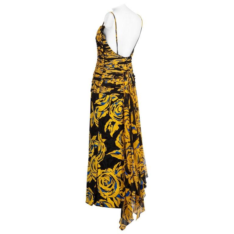 Valentino Yellow Floral Print Draped Black Silk Fishtail Gown Shawl 1970s