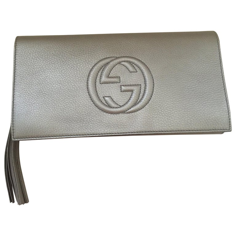 Gucci Gold Metallic Soho Logo Clutch