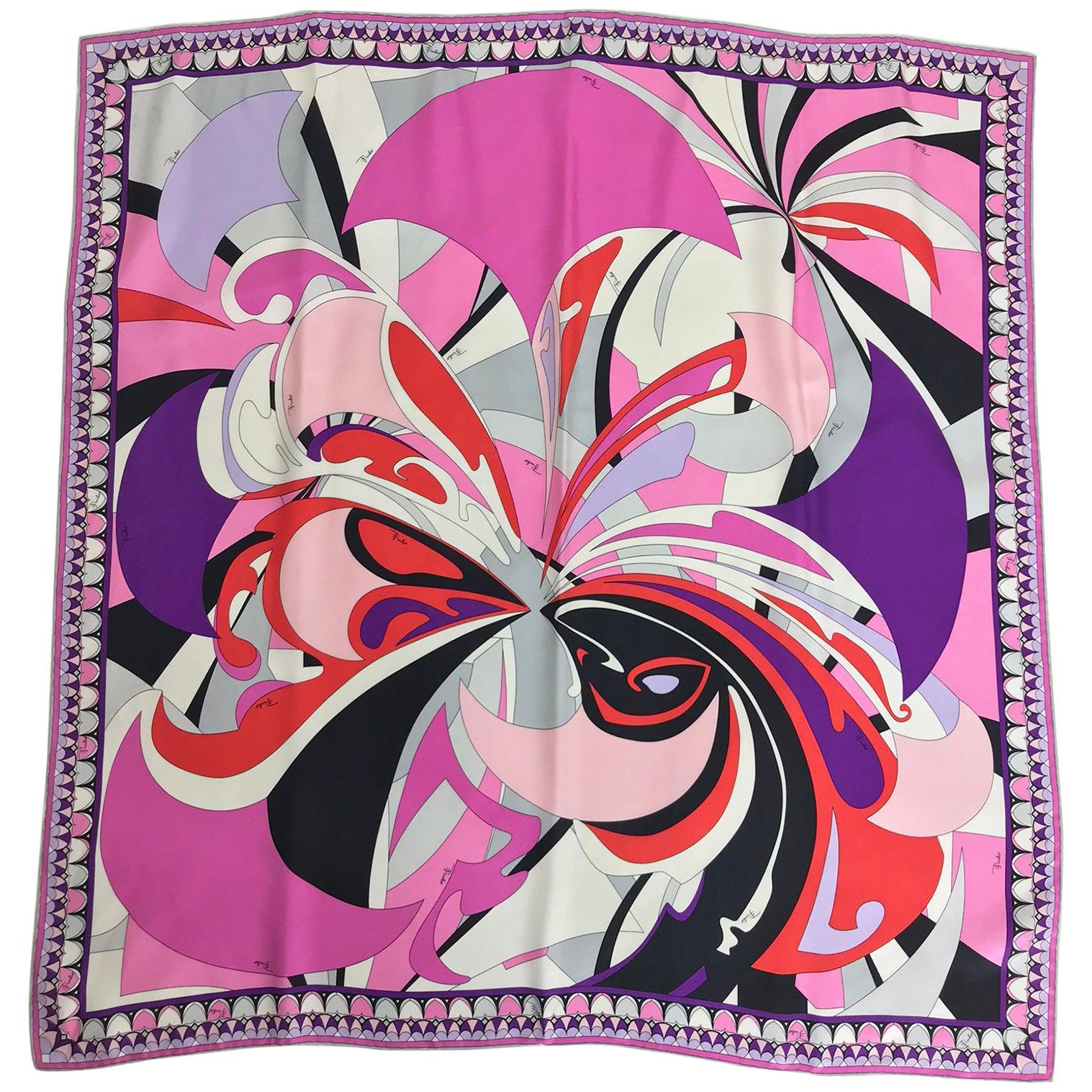 Pucci signed silk twill print scarf 34 x 34