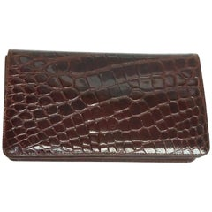 Saks Fifth Avenue Maroon Alligator Clutch