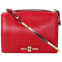 Valentino Red Vitello Rockstud Turnlock Metal Chain Shoulder / Crossbody Bag