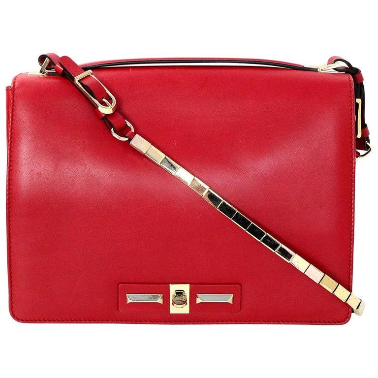 Valentino Red Vitello Rockstud Turnlock Metal Chain Shoulder Crossbody Bag For