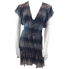 Isabel Marant Blue Print Silk Dress