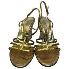 Dolce & Gabbana Gold Wedge Strappy Sandals