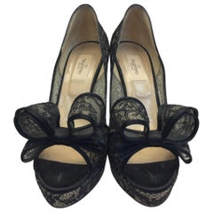 Valentino Black Lace Bow Heels