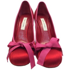 Marc Jacobs Red and Pink Satin Bow Heels