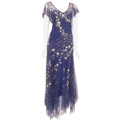 Bellville Sassoon Embellished Midnight Blue Tulle & Silk Star Studded Gown