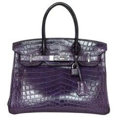 Hermes Purple Crocodile Birkin Bag