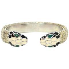 Bulgari Silver Metallic Lizard Serpenti Forever Cuff Bracelet with Box