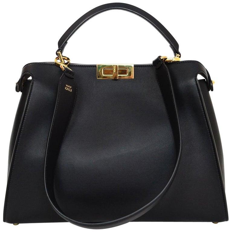 Fendi Black and Beige Calf Leather Peekaboo Essential Satchel Bag   For Sale