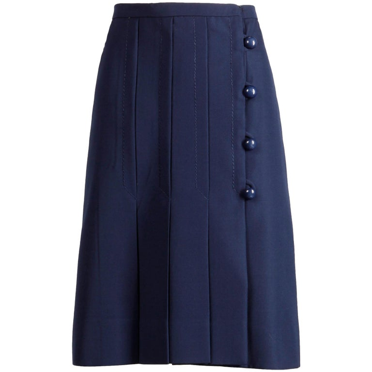 95a10036b9e2 Jean Patou Vintage Navy Blue Wool and Silk Asymmetric Pleated Mod Skirt,  1960s For Sale