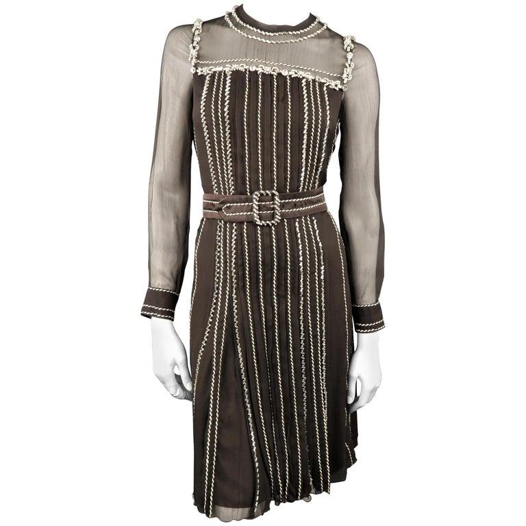 PRADA Size 4 Brown Silk Rhinestone Studded Contrast Stitching Cocktail Dress
