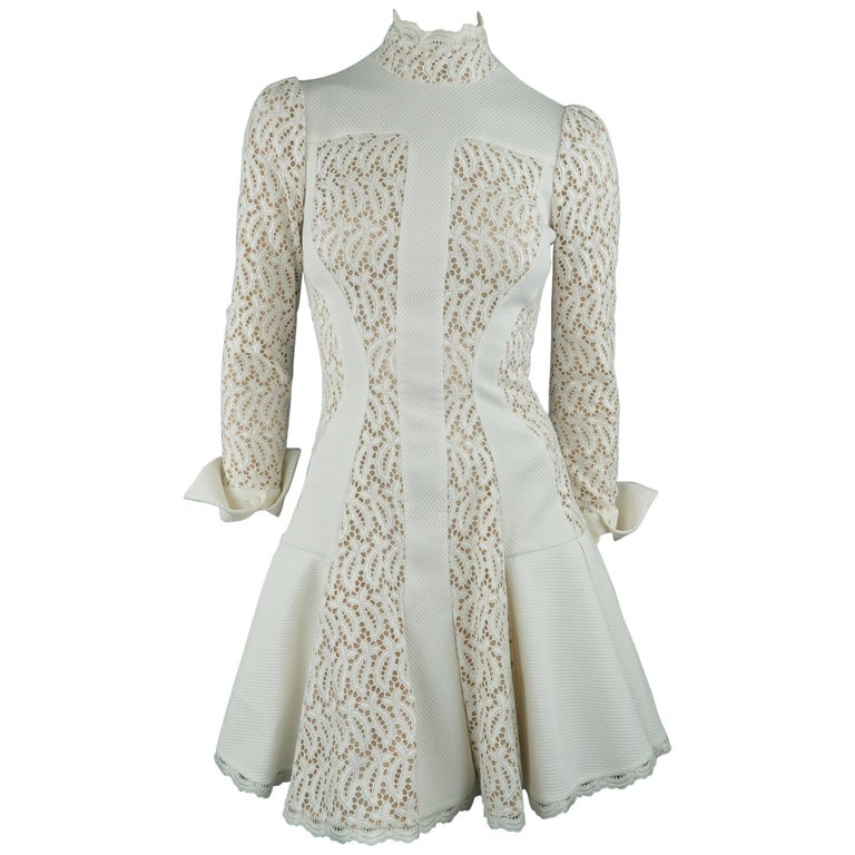 Alexander McQueen White Cream Lace Cocktail Dress, Pre-Fall 2015 Runway For Sale