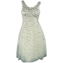 Christian Dior Cream Silver Floral Sequin Tulle Cocktail Dress