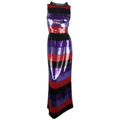 Prada Dress - Purple and Red Striped Sequin Sleeveless Column Gown