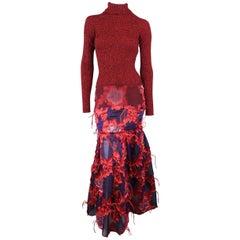 ERDEM Gown - Fall 2015 Runway - Red, Purple, Knit, Taffeta Feather Evening Dress