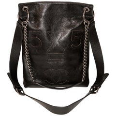 Chanel 5 x 5 CC Black Smooth Leather Satchel Bag