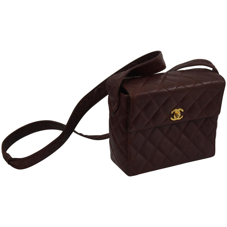 8cfb9cf86570 Chanel Vintage Semi Rigid Brown Quilted Lambskin Leather Crossbody Bag For  Sale