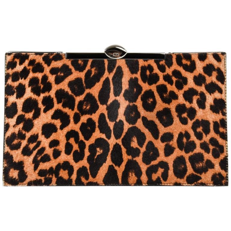 Christian Dior Bag Clutch Leopard Print Pony Top Frame Sleek