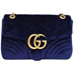 Gucci Blu Marmont Velvet Bag