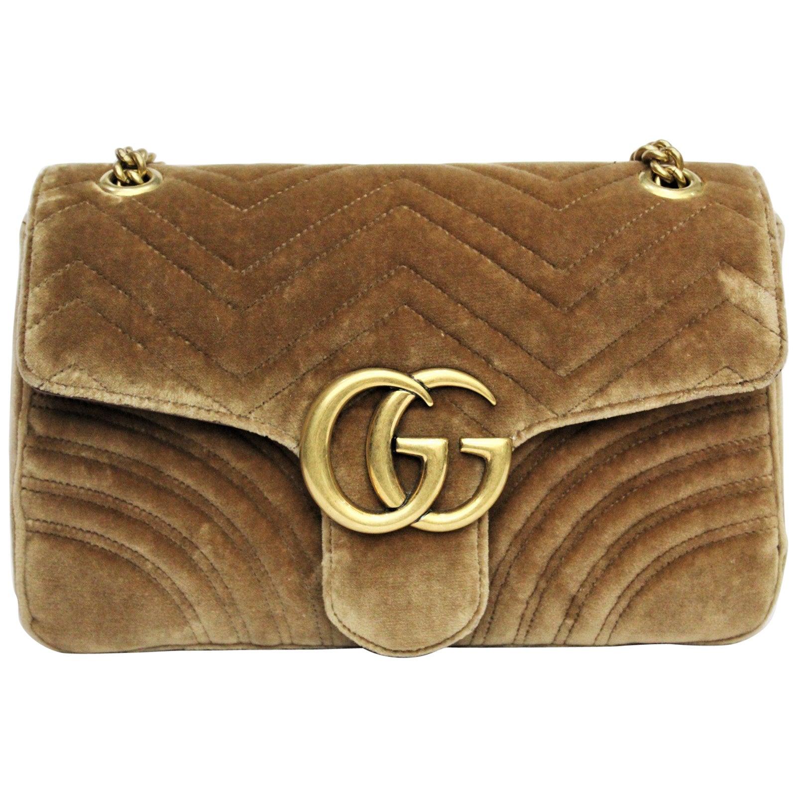 3690be913dc Gucci Brown Marmont Velvet Bag at 1stdibs
