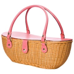 New Kate Spade Spring 2005 Collection Small Pink Wicker Basket Bag