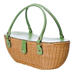 New Kate Spade Spring 2005 Collection Small Green Wicker Basket Bag