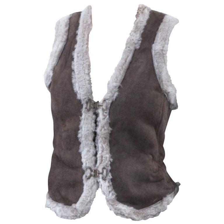 New Da-Nang Grey Shearling Vest  Sz S For Sale