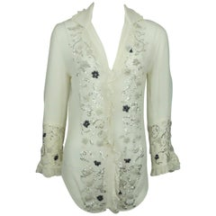 Dolce & Gabbana Ivory Silk Chiffon Top w/ Beaded Details - Medium