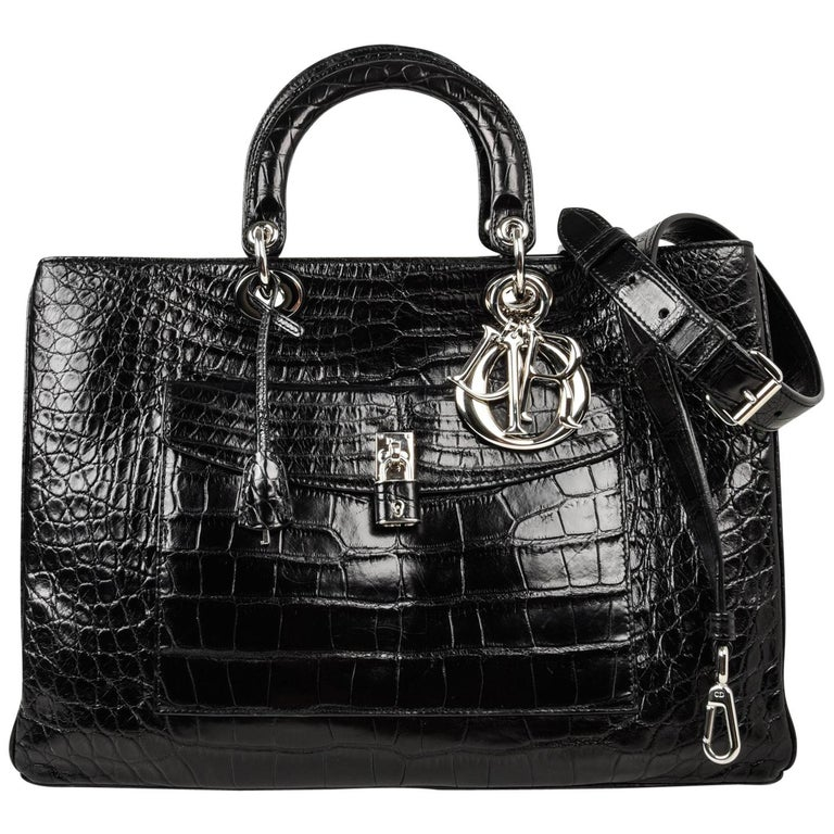 Christian Dior Bag Diorissimo Pocket Matte Black Crocodile Tote Shoulder Strap