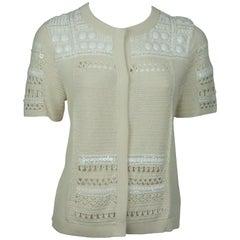 Escada Ivory Crochet Top w/ White Beading - Small - NWT